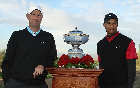 MARANA, AZ - FEBRUARY 24:  Stewart Cink and Tiger Woods pose with the Walter Hagen Cup prior to the start of the Championship match of the WGC-Accenture Match Play Championship at The Gallery at Dove Mountain on February 24, 2008 in Marana, Arizona.  (Photo by Scott Halleran/Getty Images)