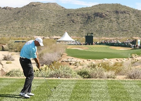 MARANA, AZ - FEBRUARY 24:  Stewart Cink hits his tee shot on the 16th hole during the Championship match of the WGC-Accenture Match Play Championship at The Gallery at Dove Mountain on February 24, 2008 in Marana, Arizona.  (Photo by Scott Halleran/Getty Images)