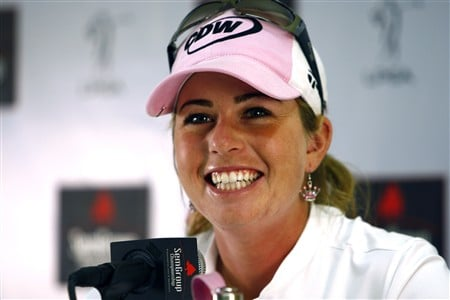 BROKEN ARROW, OK - MAY 03: Paula Cremer smiles during an interview following the third round of the SemGroup Championship presented by John Q. Hammons on May 3, 2008 at Cedar Ridge Country Club in Broken Arrow, Oklahoma. (Photo by G. Newman Lowrance/Getty Images)
