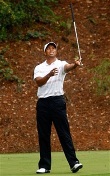 AUGUSTA, GA - APRIL 12:  Tiger Woods tosses his putter on the 12th hole after missing his birdie putt during the third round of the 2008 Masters Tournament at Augusta National Golf Club on April 12, 2008 in Augusta, Georgia.  (Photo by Jamie Squire/Getty Images)