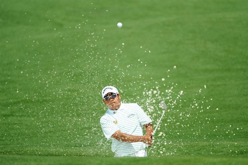 AUGUSTA, GA - APRIL 10:  Prayad Marksaeng of Thailand plays a bunker shot on the second hole during the second round of the 2009 Masters Tournament at Augusta National Golf Club on April 10, 2009 in Augusta, Georgia.  (Photo by Harry How/Getty Images)