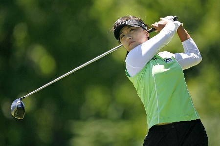 PITTSFORD, NY - JUNE 23:  Mi Hyun Kim of Korea hits her tee shot on the 6th hole during the third round of the Wegmans on June 23, 2007 at Locust Hill Country Club in Pittsford, New York.  (Photo by Hunter Martin/Getty Images)