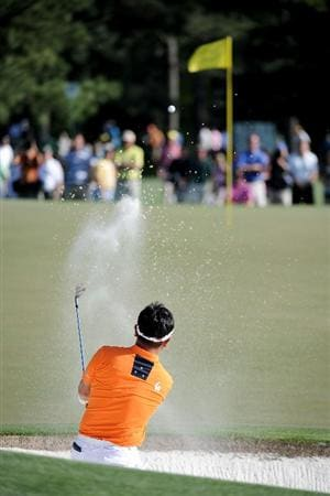 AUGUSTA, GA - APRIL 07:  Y.E. Yang of South Korea hits from a bunekr on the 17th hole during the first round of the 2011 Masters Tournament at Augusta National Golf Club on April 7, 2011 in Augusta, Georgia.  (Photo by Harry How/Getty Images)