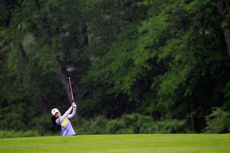 GLADSTONE, NJ - MAY 20: Meena Lee of South Korea hits  her second shot to the second hole during round two of the Sybase Match Play Championship at Hamilton Farm Golf Club on May 20, 2011 in Gladstone, New Jersey.  (Photo by Chris Trotman/Getty Images)