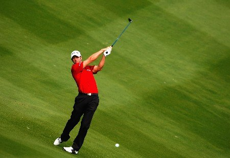 SHENZHEN, CHINA - NOVEMBER 23:  Bradley Dredge of Wales plays his approach shot on the nineth hole during the second round of the Omega Mission Hills World Cup at the Mission Hills Golf Resort on November 23, 2007 in Shenzhen, China.  (Photo by Stuart Franklin/Getty Images)