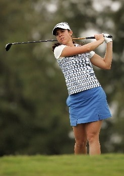 KAHUKU, HI - FEBRUARY 14:  Nicole Castrale hits her tee shot on the seventh hole during the first round of  the SBS Open on February 14, 2008  at the Turtle Bay Resort in Kahuku, Hawaii.  (Photo by Andy Lyons/Getty Images)