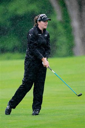 GLADSTONE, NJ - MAY 20: Brittany Lang hits her second shot to the second hole during round two of the Sybase Match Play Championship at Hamilton Farm Golf Club on May 20, 2011 in Gladstone, New Jersey.  (Photo by Chris Trotman/Getty Images)