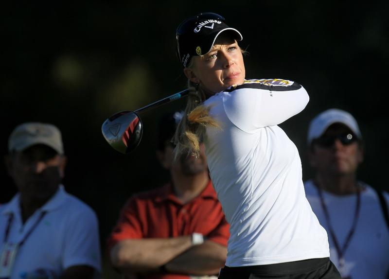 RANCHO MIRAGE, CA - MARCH 31:  Morgan Pressel hits her tee shot on the second hole during the first round of the Kraft Nabisco Championship at Rancho Mirage Country Club on March 31, 2011 in Rancho Mirage, California.  (Photo by Stephen Dunn/Getty Images)