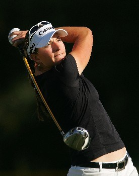 RANCHO MIRAGE, CA - MARCH 30:  Brittany Lang watches her tee shot on the second hole during the second round of the Kraft Nabisco Championship at Mission Hills Country Club on March 30, 2007 in Rancho Mirage, California. (Photo by Scott Halleran/Getty Images)