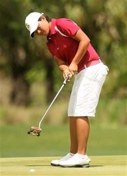 REUNION, FLORIDA - APRIL 20:  Yani Tseng of Taiwan hits a putt on the 13th hole during the final round of the Ginn Open at Reunion Resort on April 20, 2008 in Reunion, Florida.  (Photo by Scott Halleran/Getty Images)