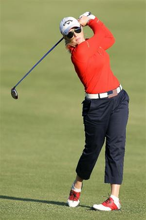 SHIMA, JAPAN - NOVEMBER 06:  Morgan Pressel of the United States plays an approach shot on the 18th hole during round two of the Mizuno Classic at Kintetsu Kashikojima Country Club on November 6, 2010 in Shima, Mie, Japan.  (Photo by Kiyoshi Ota/Getty Images)