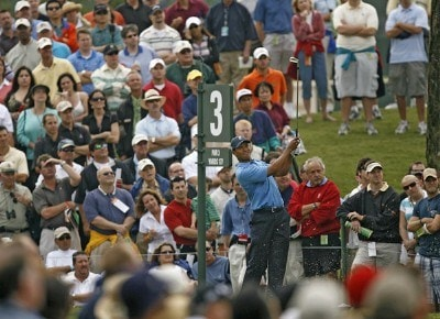 Tiger Woods tees off on the third hole during the first round of THE PLAYERS Championship held on THE PLAYERS Stadium Course at TPC Sawgrass in Ponte Vedra Beach, Florida, on May 10, 2007. PGA TOUR - 2007 THE PLAYERS Championship - First RoundPhoto by Hunter Martin/WireImage.com
