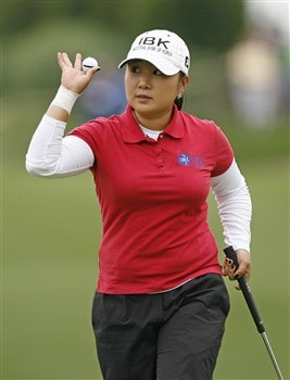 WILLIAMSBURG, VA - MAY 10: Jeong Jang of Korea acknowledges the gallery on the 18th hole during the third round of the Michelob Ultra Open at Kingsmill Resort & Spa on May 10, 2008 in Williamsburg, Virginia. (Photo by Hunter Martin/Getty Images)