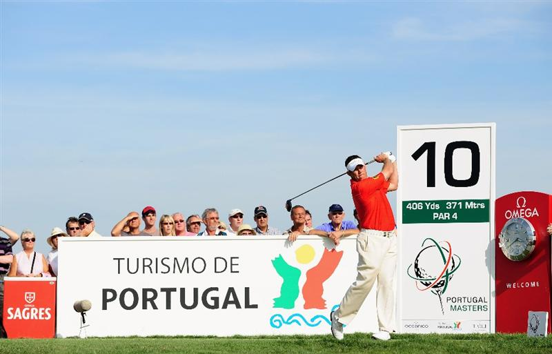VILAMOURA, PORTUGAL - OCTOBER 18:  Lee Westwood of England plays his tee shot on the 10th hole during the final round of the Portugal Masters at the Oceanico Victoria Golf Course on October 18, 2009 in Vilamoura, Portugal.  (Photo by Stuart Franklin/Getty Images)