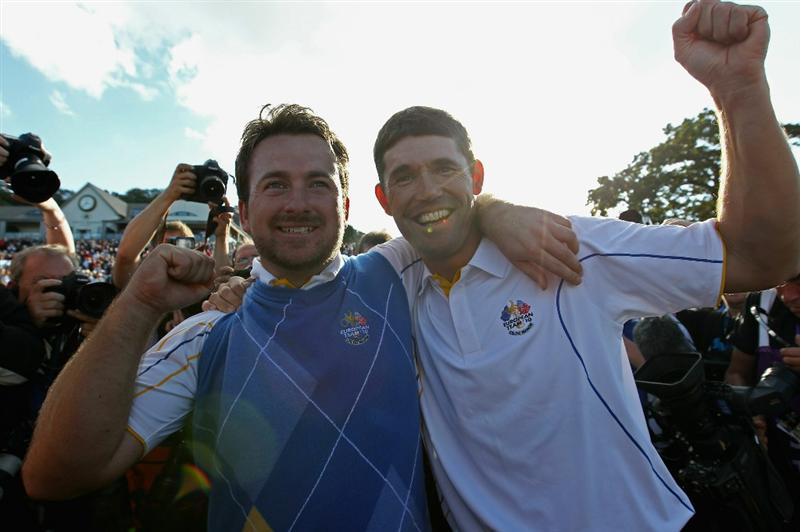 NEWPORT, WALES - OCTOBER 04:  (L-R) Graeme McDowell and Padraig Harrington of Europe celebrate following Europe's victory in the 2010 Ryder Cup at the Celtic Manor Resort on October 4, 2010 in Newport, Wales.  (Photo by Ross Kinnaird/Getty Images)