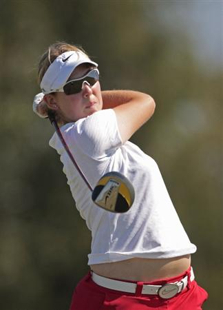 PRATTVILLE, AL - SEPTEMBER 25:   Ashleigh Simon of South Africa watches her drive on the 10th tee during first round play in the Navistar LPGA Classic at the Robert Trent Jones Golf Trail at Capitol Hill on September 25, 2008 in  Prattville, Alabama.  (Photo by Dave Martin/Getty Images)