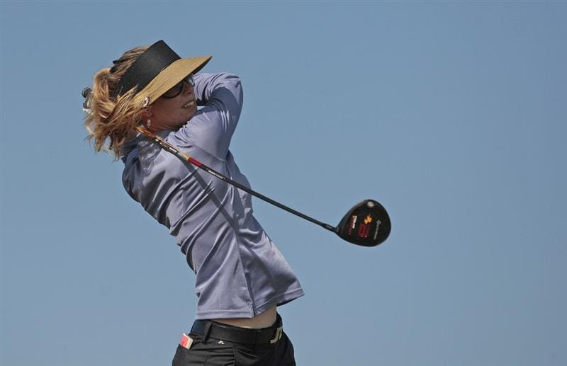 PRATTVILLE, AL - SEPTEMBER 26:   Anna Rawson of Australia hits her drive from the 3rd tee during second round play in the Navistar LPGA Classic at the Robert Trent Jones Golf Trail at Capitol Hill on September 26, 2008 in Prattville, Alabama.  (Photo by Dave Martin/Getty Images)