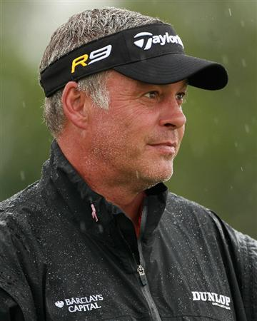 BAHRAIN, BAHRAIN - JANUARY 26:  Darren Clarke of Northern Ireland in action during the Pro Am prior to the start of the Volvo Golf Champions at The Royal Golf Club on January 26, 2011 in Bahrain, Bahrain.  (Photo by Andrew Redington/Getty Images)