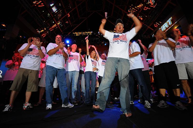 LOUISVILLE, KY - SEPTEMBER 18: J.B. Holmes of the USA team shouts to the crowd alongside his teammates at the downtown Ryder Cup pep rally prior to the start of the 2008 Ryder Cup on September 18, 2008 in Louisville, Kentucky. (Photo by Sam Greenwood/Getty Images)