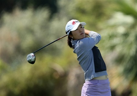 RANCHO MIRAGE, CA - APRIL 02:  Angela Park of the USA hits her tee shot at the 6th hole during the pro-am preview for the Kraft Nabisco Championship at the Mission Hills Country Club, on April 2, 2008 in Rancho Mirage, California.  (Photo by David Cannon/Getty Images)