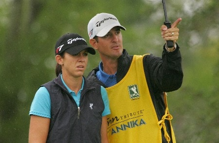MT. PLEASANT, SC - JUNE 02:   Nicole Castrale chats with her husband/caddie Craig on the fourth tee during the third round of the Ginn Tribute hosted by ANNIKA at RiverTowne County Club on June 2, 2007 in Mt. Pleasant, South Carolina.  (Photo by Scott Halleran/Getty Images)