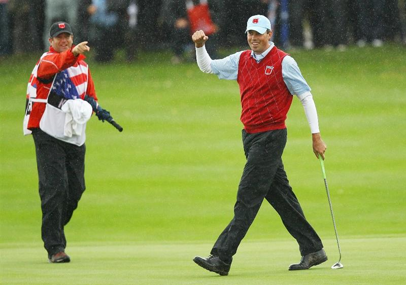 NEWPORT, WALES - OCTOBER 03:  Matt Kuchar of the USA celebrates holing a putt on the 13th green during the  Fourball & Foursome Matches during the 2010 Ryder Cup at the Celtic Manor Resort on October 3, 2010 in Newport, Wales. (Photo by Richard Heathcote/Getty Images)