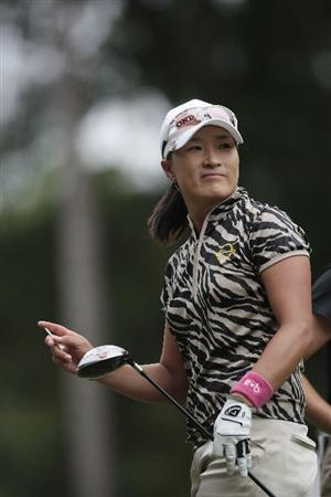 MOBILE, AL - MAY 15:  Se Ri Pak of South Korea watches her drive on the tenth hole during third round play in the Bell Micro LPGA Classic at the Magnolia Grove Golf Course on May 15, 2010 in Mobile, Alabama.  (Photo by Dave Martin/Getty Images)