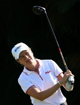 WEST PALM BEACH, FL - NOVEMBER 15:  Catriona Matthew of Scotland watches her tee shot on the ninth hole during the first round of the 2007 ADT Championship at the Trump International Golf Club on November 15, 2007 in West Palm Beach, Florida  (Photo by Scott Halleran/Getty Images)
