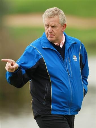NEWPORT, WALES - SEPTEMBER 30:  Europe Team Captain Colin Montgomerie gestures during a practice round prior to the 2010 Ryder Cup at the Celtic Manor Resort on September 30, 2010 in Newport, Wales.  (Photo by Andrew Redington/Getty Images)