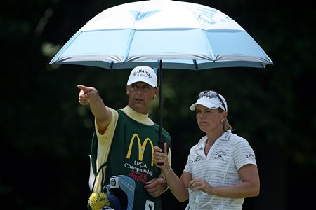 HAVRE DE GRACE, MD - JUNE 08:  Annika Sorenstam of Sweden and her caddie line up a shot on the 4th hole during the final round of the McDonald's LPGA Championship at Bulle Rock Golf Course on June 8, 2008 in Havre de Grace, Maryland.  (Photo by Andy Lyons/Getty Images)