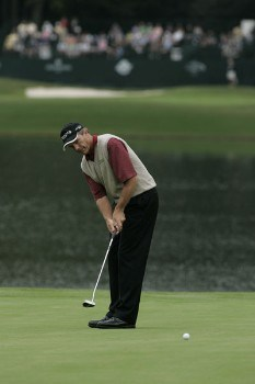 Jerry Pate in action during the third round of the Greater Hickory Classic at Rock Barn on the Jones Course  in Conover, North Carolina on October 9, 2005.Photo by Michael Cohen/WireImage.com