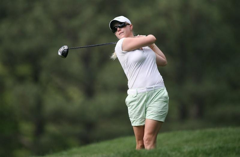 WILLIAMSBURG, VA - MAY 07:  Morgan Pressel hits her tee shot on the 8th hole during the first round of the Michelob Ultra Open at Kingsmill Resort on May 7, 2009 in Williamsburg, Virginia.  (Photo by Hunter Martin/Getty Images)