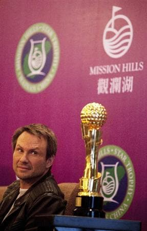 HAIKOU, CHINA - OCTOBER 27:  Actor Christian Slater looks toward a Mission Hill Star Trophy during the openingpress conference of the Mission Hills Star Trophy on October 27, 2010 in Haikou, China. The Mission Hills Star Trophy is Asia's leading leisure liflestyle event and features Hollywood celebrities and international golf stars.  (Photo by Athit Perawongmetha/Getty Images)