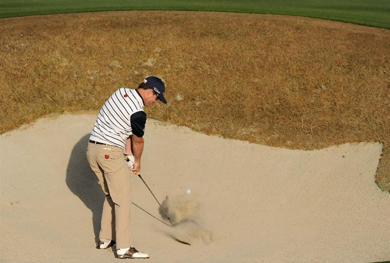 MARANA, AZ - FEBRUARY 23:  Zach Johnson plays his bunker shot on the 15th hole during the first round of the World Golf Championships-Accenture Match Play Championship held at The Ritz-Carlton Golf Club, Dove Mountain on February 23, 2011 in Marana, Arizona.  (Photo by Stuart Franklin/Getty Images)