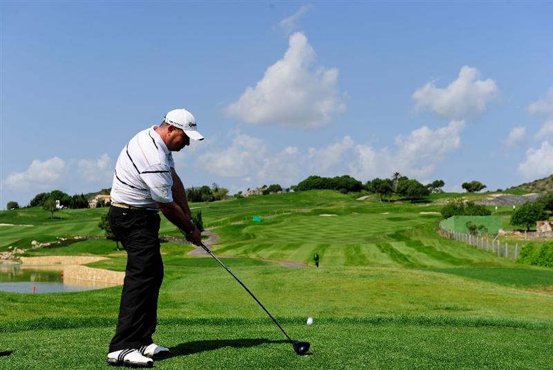 MALLORCA, SPAIN - MAY 13:  Gary Murphy of Ireland plays his tee shot on the 17th hole during the first round of the Open Cala Millor Mallorca at Pula golf club on May 13, 2010 in Mallorca, Spain.  (Photo by Stuart Franklin/Getty Images)