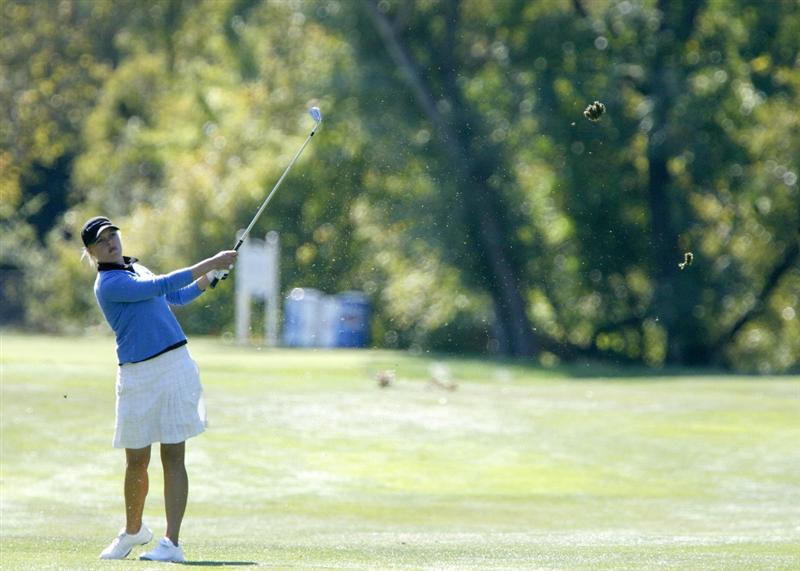 DANVILLE, CA - OCTOBER 11: Charlotte Mayorkas hits off the 8th fairway during the third round of the LPGA Longs Drugs Challenge at the Blackhawk Country Club October 11, 2008 in Danville, California. (Photo by Max Morse/Getty Images)