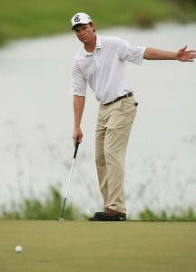 Bob Estes tries to direct his birdie putt attempt on the ninth hole during the second round of the Ginn Sur Mer Classic at Tesoro October 26, 2007 in Port Saint Lucie, Florida. PGA TOUR - 2007 Ginn sur Mer Classic - Second RoundPhoto by Doug Benc/WireImage.com