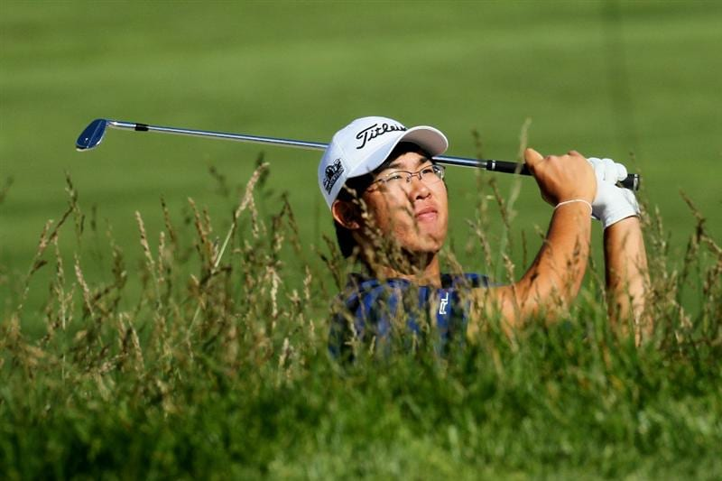 PEBBLE BEACH, CA - JUNE 16:  Amateur Byeong-Hun An of South Korea watches his shot during a practice round prior to the start of the 110th U.S. Open at Pebble Beach Golf Links on June 16, 2010 in Pebble Beach, California.  (Photo by Stephen Dunn/Getty Images)