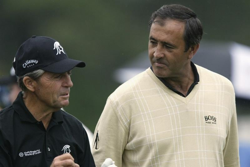 10 Apr 2002: Gary Player of South Africa and Seve Ballesteros of Spain walk together during a practice round prior to the Masters at Augusta National Golf Club in Augusta, Georgia, USA. DIGITAL IMAGE. FOR EDITORIAL USE ONLY. Mandatory Credit: Craig Jones/Getty Images.