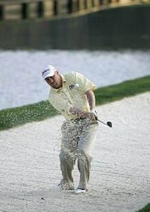 John Rollins hitting out of the sand during the second round for THE PLAYERS Championship held at the TPC Stadium Course in Ponte Vedra Beach, Florida on March 24, 2006.Photo by Michael Cohen/WireImage.com