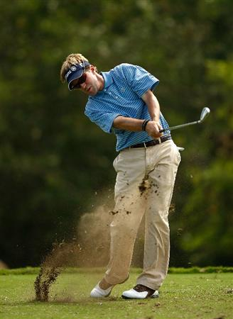 RIO GRANDE, PR - MARCH 15:  Brett Quigley hits a tee shot on the 11th hole during the final round of the 2009 Puerto Rico Open presented by Banco Popular at the Trump International Golf Club on March 15, 2009 in Rio Grande, Puerto Rico.  (Photo by Mike Ehrmann/Getty Images)