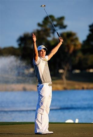 PALM BEACH GARDENS, FL - MARCH 07:  Camilo Villegas of Colombia celebrates after winning the Honda Classic at PGA National Resort And Spa on March 7, 2010 in Palm Beach Gardens, Florida.  (Photo by Sam Greenwood/Getty Images)