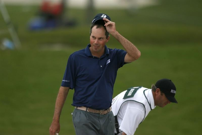 DORAL, FL - MARCH 11:  Matt Kuchar celebrates his eagle on the tenth hole during round one of the 2010 WGC-CA Championship at the TPC Blue Monster at Doral on March 11, 2010 in Doral, Florida.  (Photo by Marc Serota/Getty Images)