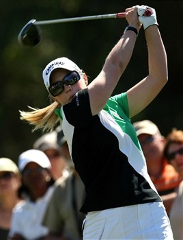 RANCHO MIRAGE, CA - APRIL 3:  Margan Pressel hits her tee shot on the 16th hole during the first round of the Kraft Nabisco Championship at Mission Hills Country Club April 3, 2008 in Rancho Mirage, California.  (Photo by Stephen Dunn/Getty Images)