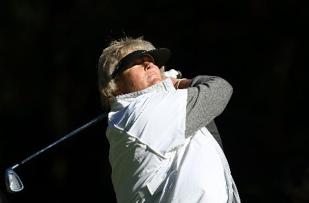 HALMSTAD, SWEDEN - SEPTEMBER 13:  Laura Davies hits a shot during practice prior to the start of the Solheim Cup at Halmstad Golf Club on September, 13, 2007 in Halmstad, Sweden.  (Photo by Jonathan Ferrey/Getty Images)