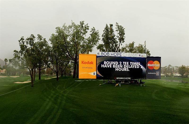 LA QUITNA, CA - JANUARY 21: A scoreboard annnouces the rain delay on the Palmer Private Course at PGA West before the delayed second round of the Bob Hope Classic on January 21, 2010 in La Quinta, California. (Photo by Stephen Dunn/Getty Images)