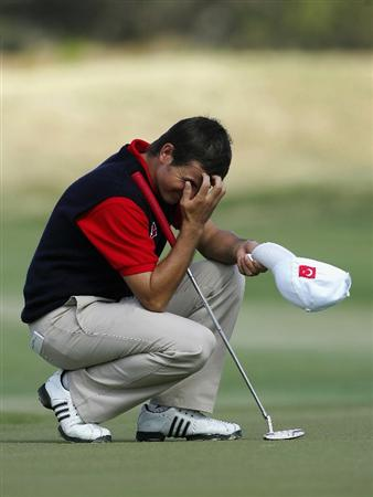 ADELAIDE, AUSTRALIA - OCTOBER 19:  Stephan Gross of Germany reacts after missing a putt during the final day of the Eisenhower Trophy, which is part of the 2008 World Amateur Team Championship, held at Grange Golf Club October 19, 2008 in Adelaide, Australia.  (Photo by James Knowler/Getty Images)