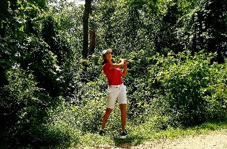 NEW ROCHELLE, NY - JULY 20:  Lorena Ochoa of Mexico watches her third shot out of the weeds on the ninth hole during the second round of the HSBC Women's World Match Play Championship at Wykagyl Country Club on July 20, 2007 in New Rochelle, New York.  (Photo by Travis Lindquist/Getty Images)