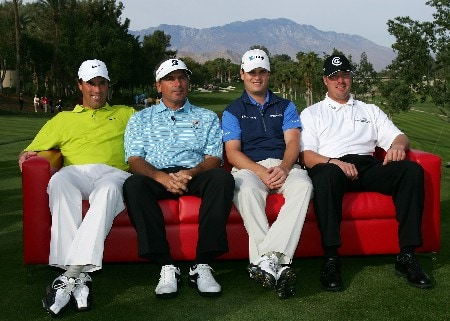 INDIAN WELLS, CA - NOVEMBER 25: (L-R) Stephen Ames, Fred Couples, Zach Johnson and Brett Wetterich pose before the start of the final round of the PGA LG Skins Game on November 25, 2007 at the Indian Wells Golf Resort in Indian Wells, California.  (Photo by Robert Laberge/Getty Images)