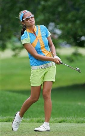 PITTSFORD, NY - JUNE 28: Jennifer Rosales of the Phippines hits her tee shot at the seventh hole during the final round of the Wegmans LPGA at Locust Hill Country Club held on June 28, 2009 in Pittsford, NY. (Photo by Michael Cohen/Getty Images)